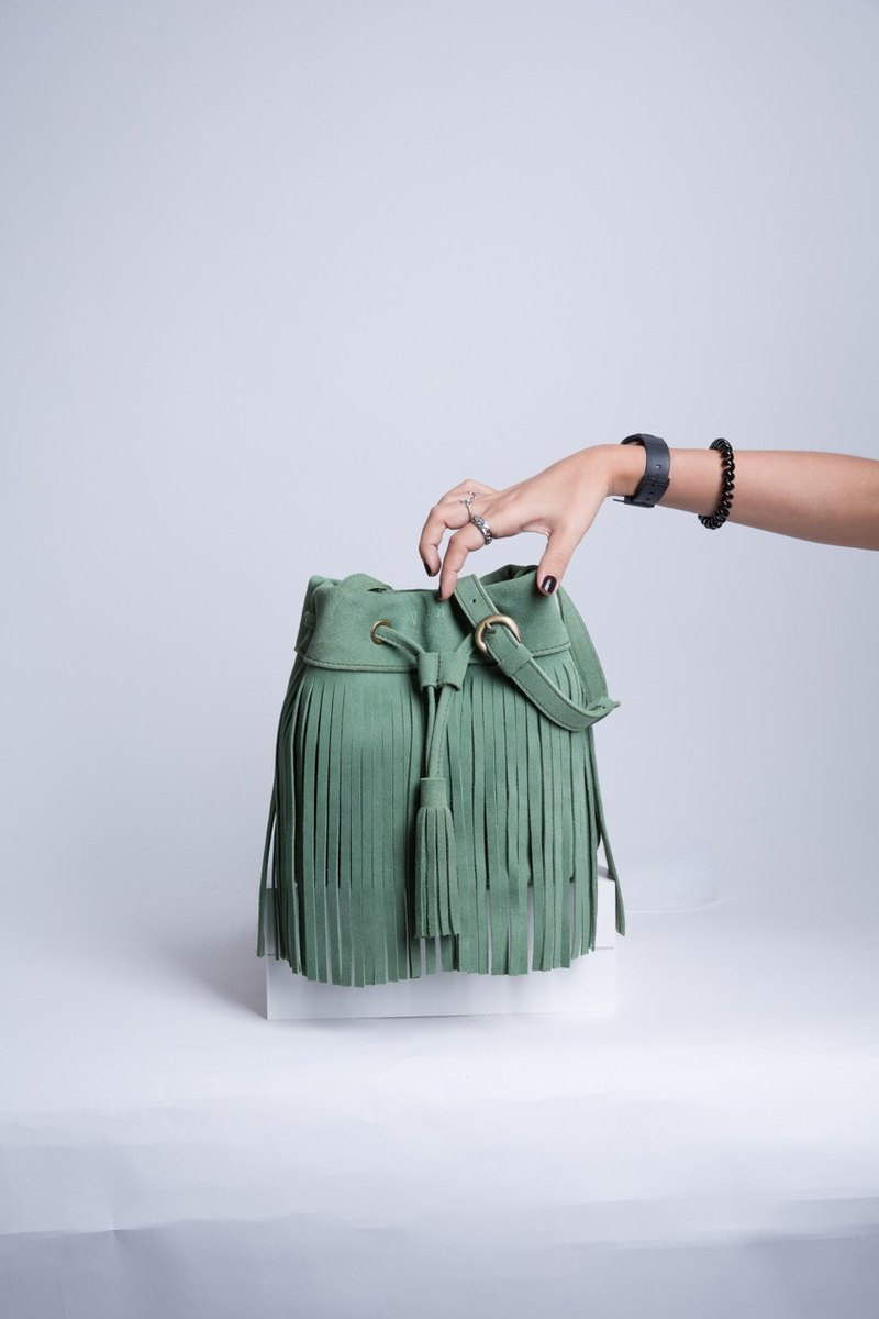Leather fringe Bag ( Green) : The Undressed Pepper Mint