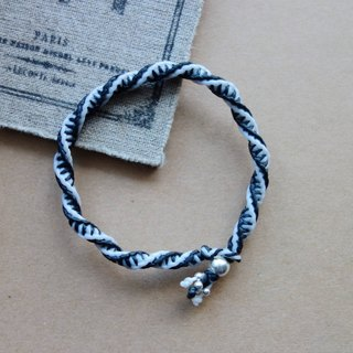 ~ M ~ + bear black and white piano rhapsody sterling silver bracelet braided silk wax fine bracelet / 925 silver bracelet