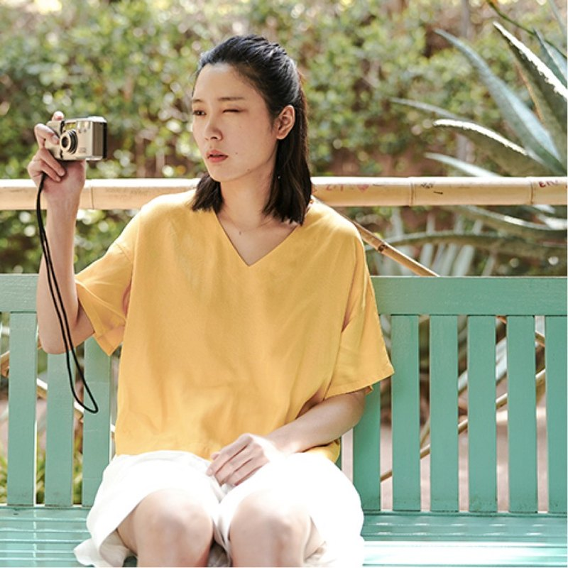 Only the left [black] the taste of lemon V-neck Tencel loose short-sleeved shirt before the long short sleeve sleeves T-shirt I still have a girl heart 咿 Moroccan back | Vitatha original design independent Paita women's brand