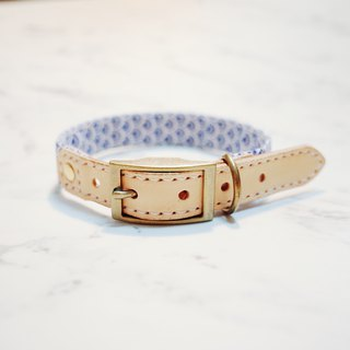 Dog collar M number blue summer style tile printing totem vegetable tanned leather can purchase tag