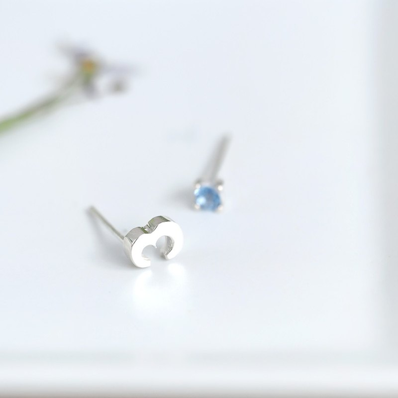 Number 3 Aquamarine ピアス 925 Sterling Silver