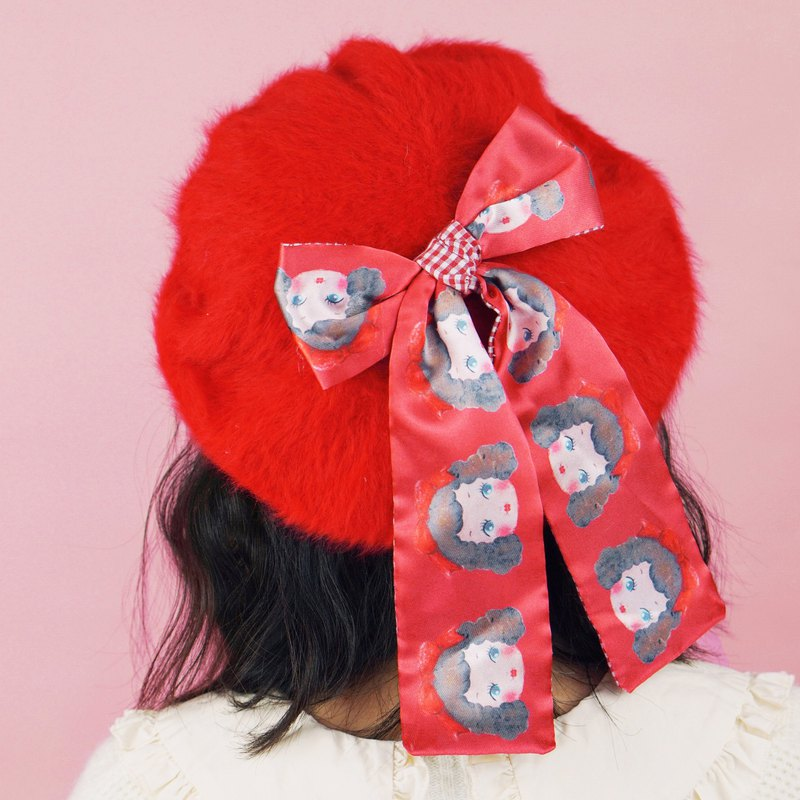 Original handmade red doll hat