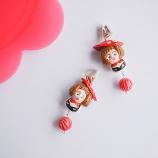 Clay earrings little red cap idyllic girl earrings ear clip