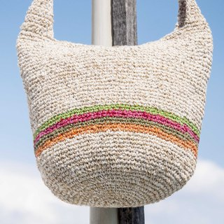Natural cotton and linen crocheted light bag / cross-body bag / side backpack / shoulder bag / travel bag / cylinder bag - rainbow