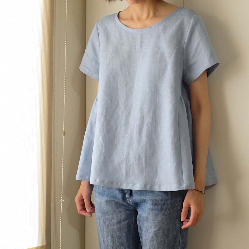 Daily hand-made clothes sky blue air sense short-sleeved sleeve umbrella blouse linen