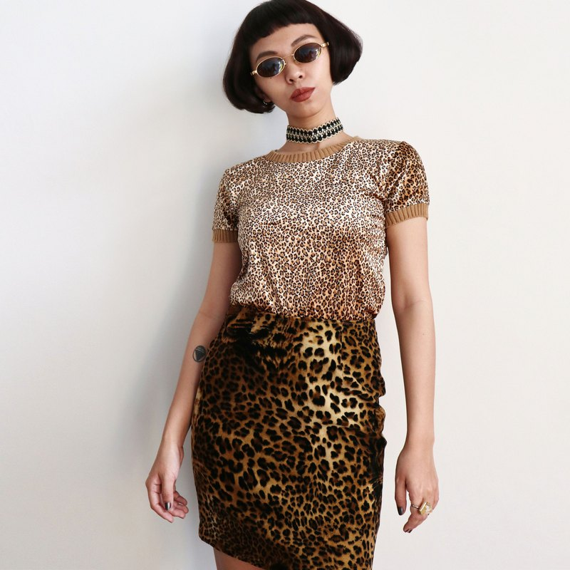 Pumpkin Vintage. Ancient suede leopard top