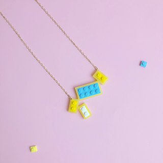 Summer Fun Yellow Blue Geometric Necklace