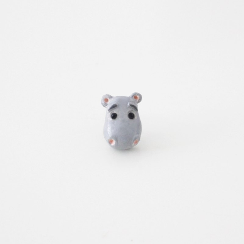 Hippo stud earrings / clip on earrings