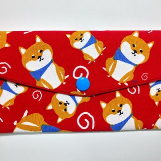 Double red envelope bag / passbook storage bag (28 Shiba dogs sit)