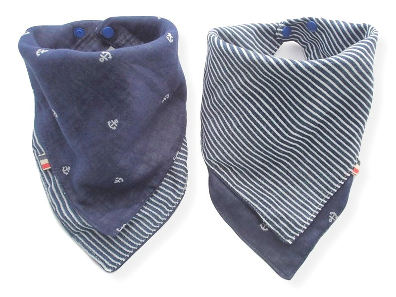 Baby Bib, Reversible Baby Scarf Bandana Bib, Navy Anchor, Japanese Cotton