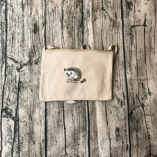 Hand-painted design Hedgehog canvas cross-body bag