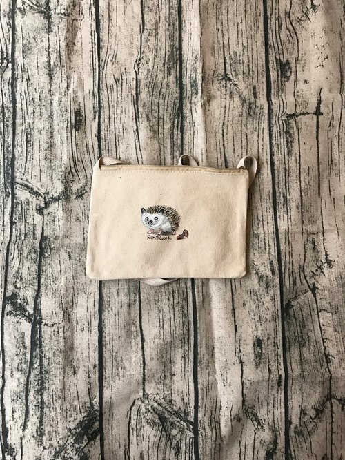 Hand-drawn design hedgehog canvas cross-purpose bags