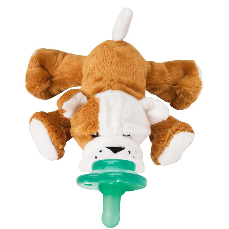 美國 nookums 寶寶可愛造型 搖鈴款安撫奶嘴/玩偶-鬥牛犬