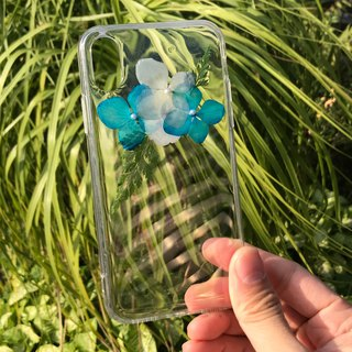 iPhone X Dry Pressed Flowers Case Blue Flower case 007