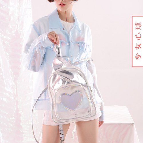 Independent design laser transparent shoulder bag dual-use backpack bag Japanese soft sister Lolita student bag