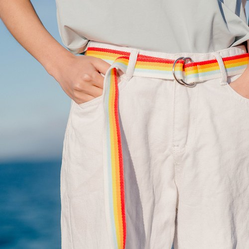 OTHERCOLOR 18SS summer ice cream rainbow belt stripes multi-color casual wild men and women with the same tide