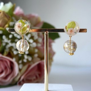 Pressed Flower Earrings with Gold Leaf Beads