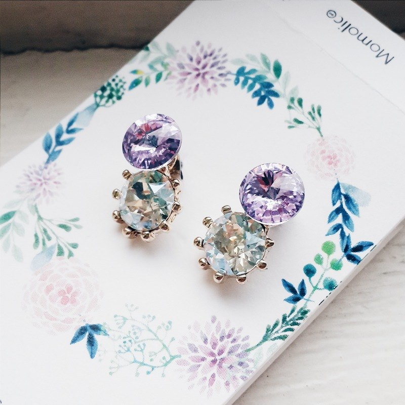 momolico earrings simple wind purple swarovski 2 segment changes
