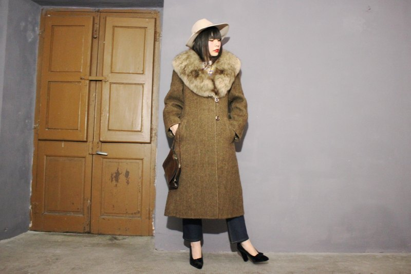 [Vintage Coat] (Made in Italy standard) Brown wool double pocket coat Vintage (Made in Italy) F3106