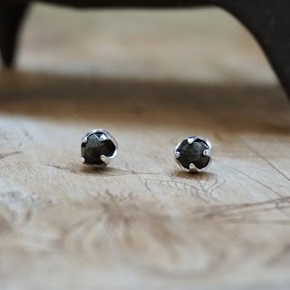 << Black Planet >> Obsidian Earrings 925 Sterling Silver Ears Ear Ears