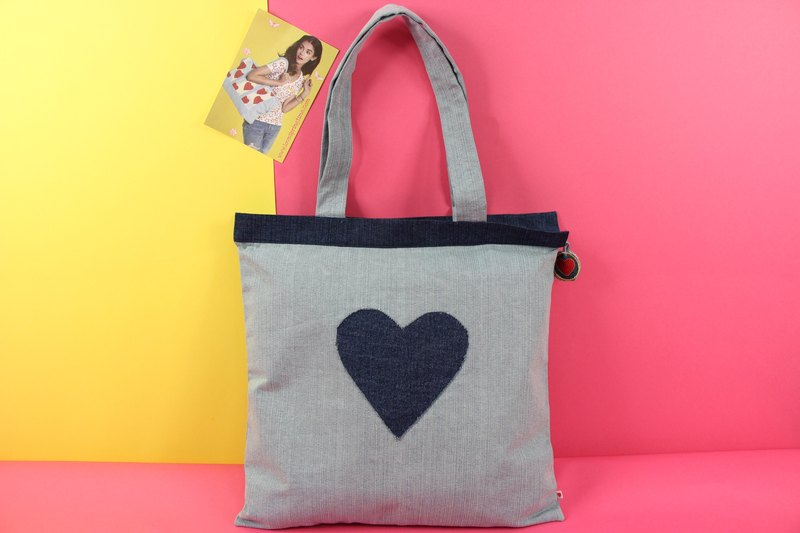 Hopeful Heart Denim Tote Bag