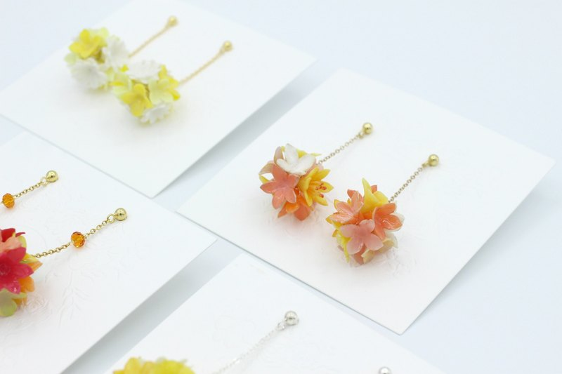 Pamycarie spring summer resin clay flower ball 925 sterling silver earrings