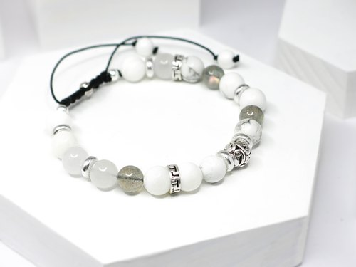 Light-colored self-natural stone beaded silver bracelet │White 玥unicorn Labradorite