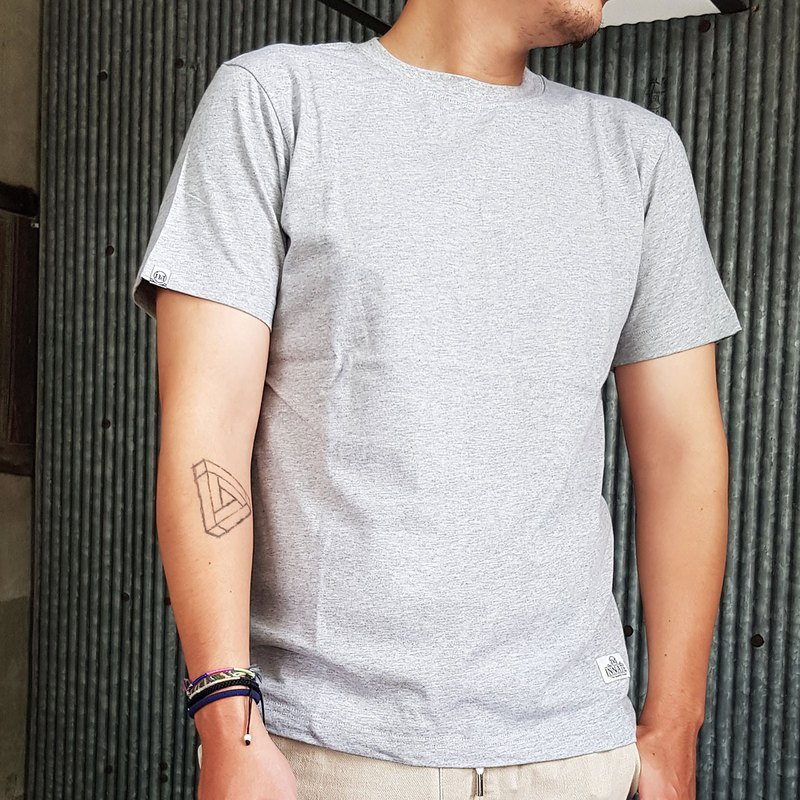 [INNATE] High-pound cotton fabric fitted with short-sleeved plain T-shirt-hemp gray
