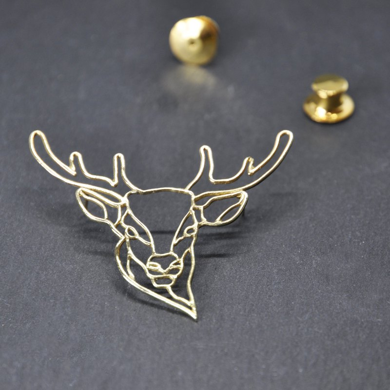. Above the vegetation. NO.02 Brass Deer Brooch