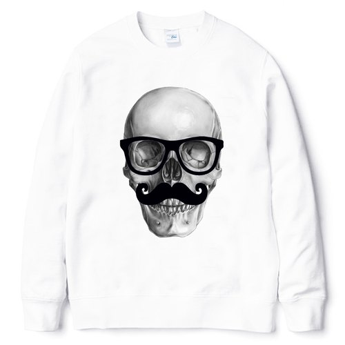 Mr Skull University T Neutral bristles white skull design art beard glasses
