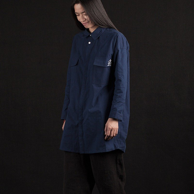 Plant blue dyed indigo loose tooling long sleeve blouse