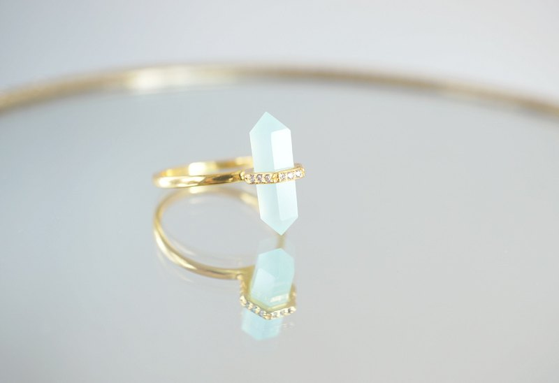 【Gold Vermeil/Gemstone】Aqua Chalcedony,White Zircon Gold Ring
