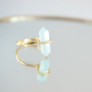 【Gold Vermeil / Gemstone】 Aqua Chalcedony, White Zircon Gold Ring