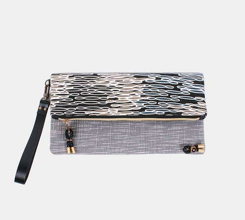 Black NUNN clutch bag to meet with rain showers