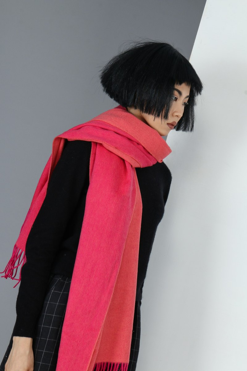 Plain double-sided  pure wool  scarf shawl -watermelon red+peach
