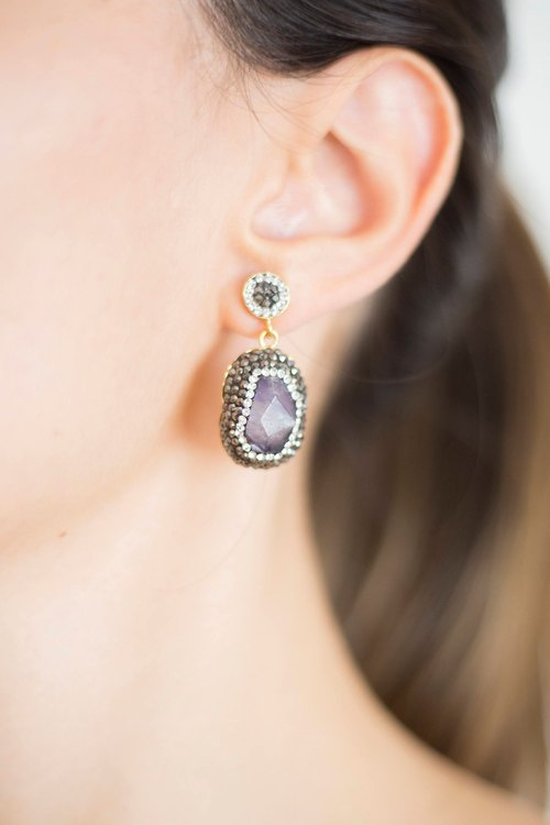 Amethyst Earrings Marcasite Earrings Drop Earrings Dangle Earrings Amethyst Jewelry Crystal Earrings Wife Gift For Her Precious Jewelry