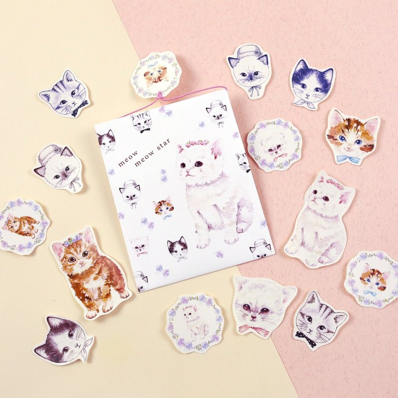 Cat wreath sticker set