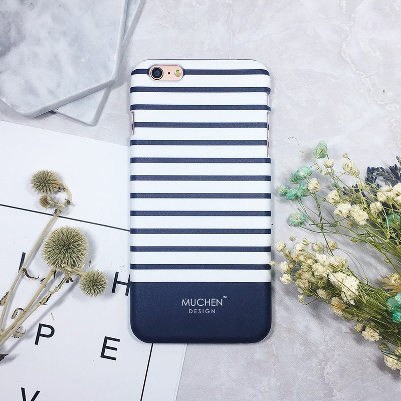 Classic Series - Navy Blue Stripe - iPhone. Samsung, HTC, Sony. ASUS Mobile Shell Case