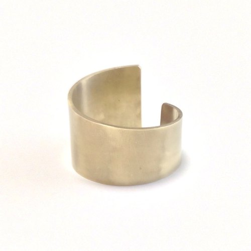 [Order production] ring / gold color width deformation design <unisex> ※ 7-20 No.