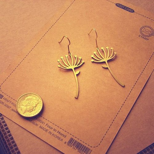 Dandelion brass earrings (Handmade)