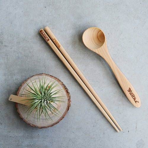 Taiwan Maple Chopsticks • Small Table Spoon Combination