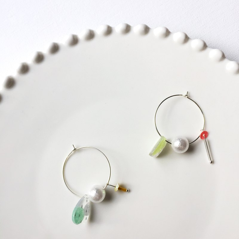 Swinging rainforest/needle earrings