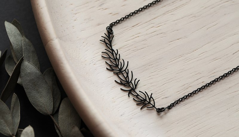 Black Larch Necklace Larch Pendant (Black)