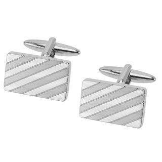Shiny and Brush Silver Repp Stripe Rectangle Cufflinks