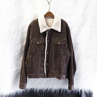 Tea Brown Fluffy Green Bark Rock Love Day Handmade Antique Cotton Hair Corduroy Jacket Oversize