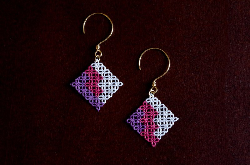 [Hand-dyed] tatting mosaic earrings race <Shion>