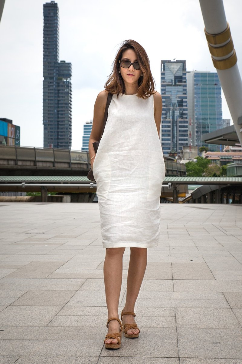Catherine Linen Dress (White)