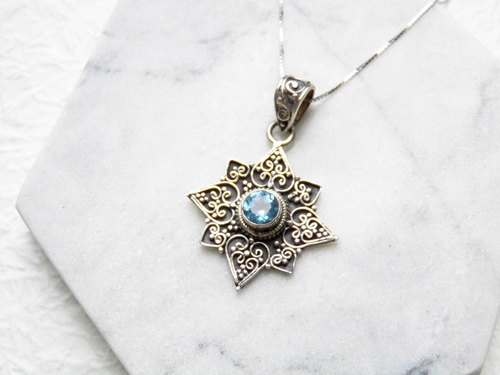Blue topaz blue topaz 925 sterling silver thick carved eight Mans star necklace inlaid hand-made in Nepal