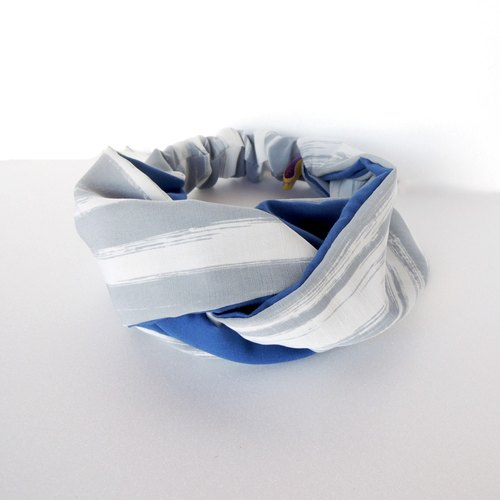 Bicolor Striped Hair Band | Blue