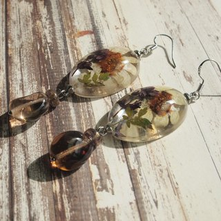 Real flower resin earrings, Clear resin jewelry, Flower earrings